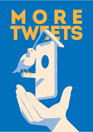 Blue bird tweet, mobile devise in hand. More tweets poster