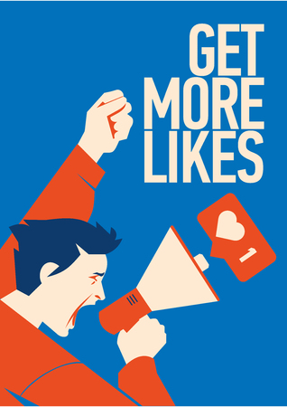 Get more likes Announcement. Man Holding Megaphone With Speech Bubble. Illustration