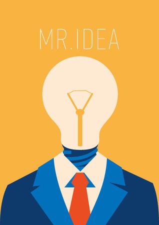Flat businessman with light bulb instead head, idea concept Illustration