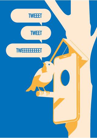 Blue bird tweet, mobile devise on tree