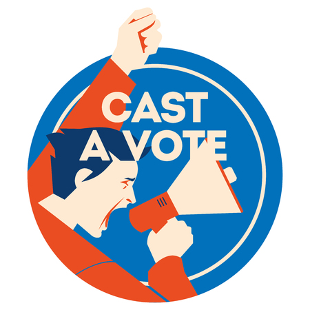 Cast a vote. Man Holding Megaphone with bubble and noise