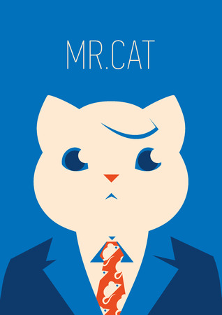 A Vector portrait of a cat in suit and tie.