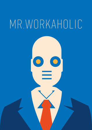A Vector illustration of a robot as a businessman in suit and tie