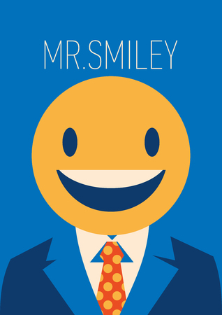 Businessman with a smiley face instead of his head Illustration