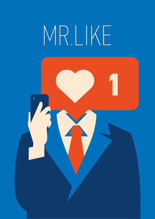 Businessman with like instead head. A holding smartphone with social network Illustration