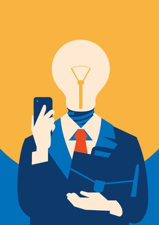 Flat businessman with light bulb instead head, idea concept. Illustration