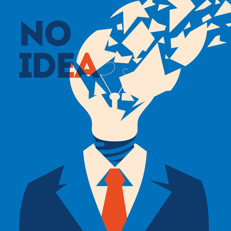 No idea concept. Business thinking, with chapped bulb instead head.