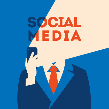 Businessman looking at smartphone. Mobile Marketing concept. Social media poster