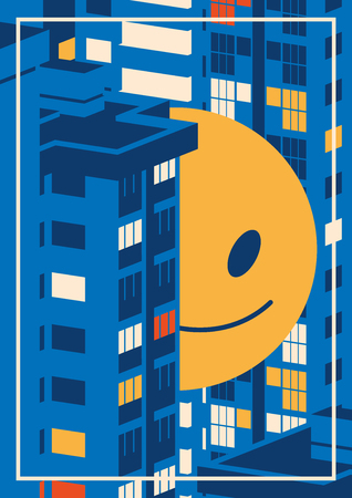 Nigth cityscape and giant smiley emoji between the houses.