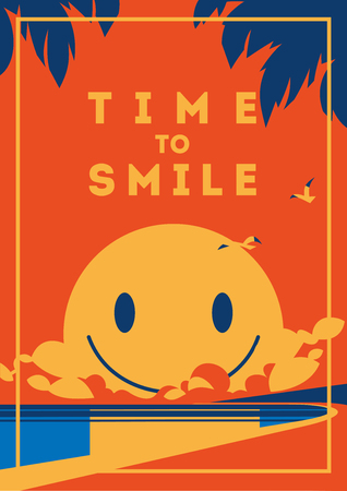 Summer Holiday and Summer Camp poster with smiley sun