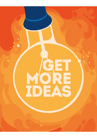 Light bulb with glow. Get more ideas concept poster.