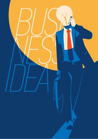 Businessman with light bulb instead head, idea concept.