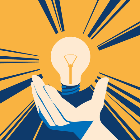 Lightbulb in hand with glow. lamp Flat Vector illustration.