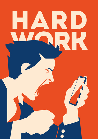 Angry Busiessman holds a smartphone in hand. Boss swears through phone. Illustration