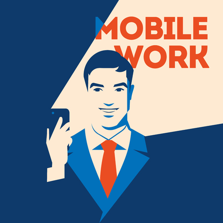Businessman looking at smartphone. Mobile work concept. Social media poster Illustration