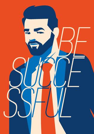 Hipster beard businessman vector illustration. Successful Businessman.