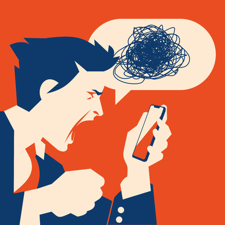 Angry Busiessman holds a smartphone in hand. Boss swears through phone. Ilustrace