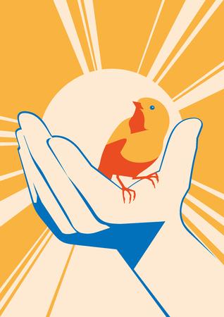 A little bird in hand. vector flat illustration Illustration