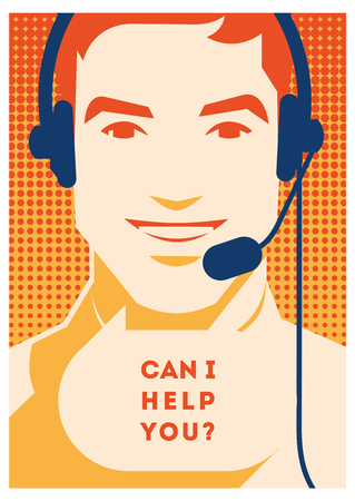 Call center operator with headset poster. Client services and communication, customer support, phone assistance. Ilustrace