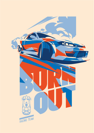 Burnout car, Japanese drift sport, Street racing Imagens - 99690296