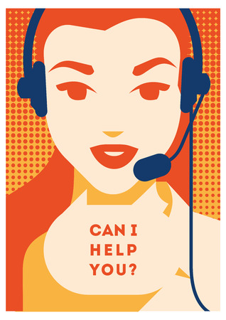 Call center operator with headset poster. Client services and communication, customer support, phone assistance. Reklamní fotografie