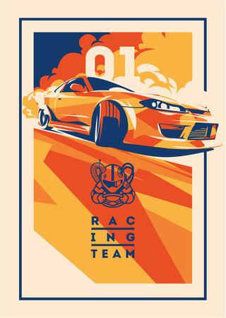 Burnout car, japoński drift sport, wyścigi uliczne