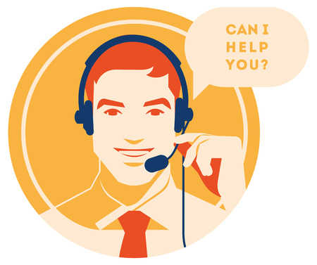 Call center operator with headset vector retro icon. Male call center avatar. Client services and communication, customer support, phone assistance, information, solutions.