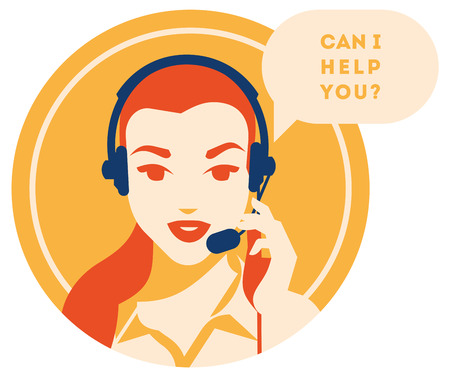 Call center operator with headset vector retro icon. Female call center avatar. Client services and communication, customer support, phone assistance, information, solutions. Ilustrace