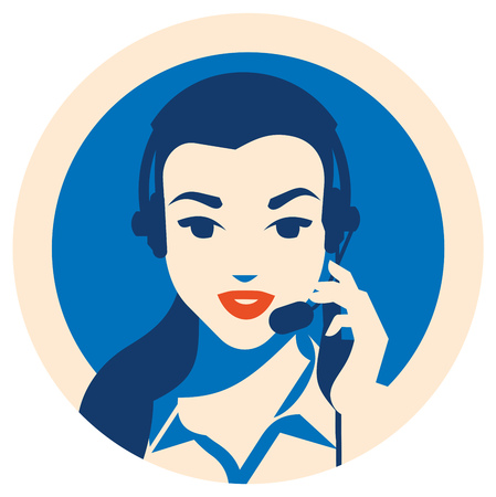 Call center operator with headset vector retro poster. Female call center avatar. Client services and communication, customer support, phone assistance, information, solutions.