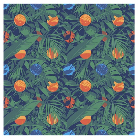 Seamless summer Hawaiian tropical pattern with, palm leaves and flowers.