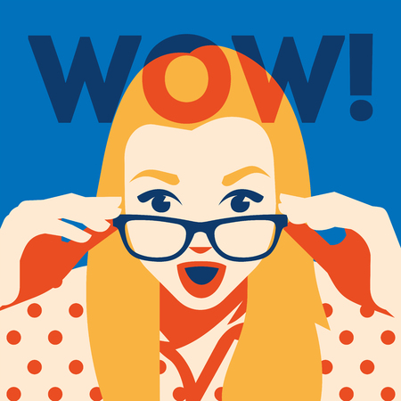 Wow face of surprised woman holding sunglasses in her hand. Vector illustration.