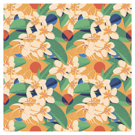 Seamless summer Hawaiian tropical pattern with, palm leaves and flowers. Vector illustration. Illustration