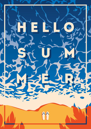 Hello summer typography Illustration with summer theme graphic design.