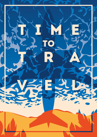 Time to trave typography Illustration with summer theme graphic design.