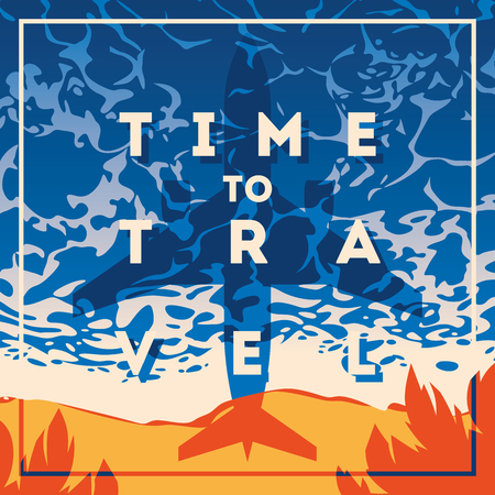 Time to travel typography Illustration with summer theme graphic design.