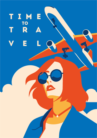 Time to Travel and Summer Holiday poster. Airplane Traveling template poster, badge, vector illustration. Vacation poster with lettering.