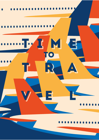 Time to Travel and Airport vacation poster. Airplane Traveling template poster, badge, vector illustration. Vacation poster with lettering.