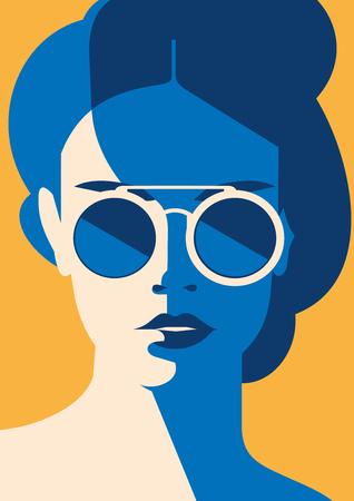 Retrato de moda de una chica modelo con gafas de sol. Cartel o volante de colores de moda retro.