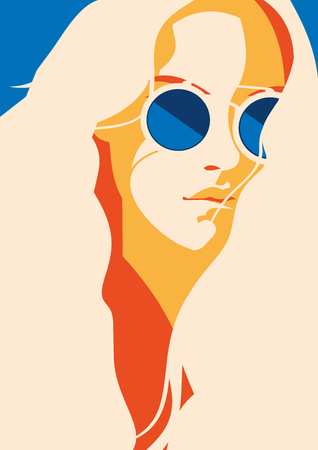 Fashion portrait of a model girl with sunglasses. Retro trendy colors poster or flyer. Stock Photo