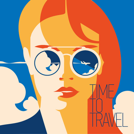 Fashion portrait of a model girl with sunglasses. Time to Travel and Summer Holiday poster.