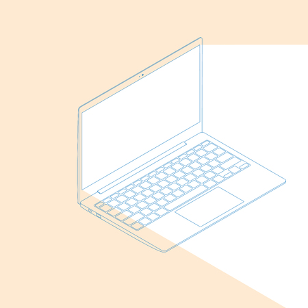 Realistic flat modern, laptop with color glow on dark background. Illustration