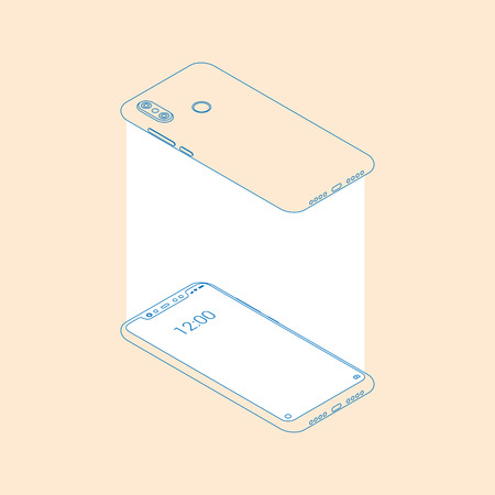 Realistic flat modern, two smart phone with white glow on light background. Device phone mockup