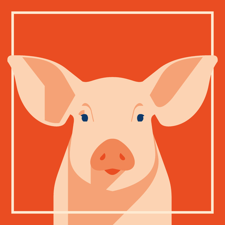 Pink pig in flat style, a symbol of the 2019 Chinese New Year Stock Illustratie