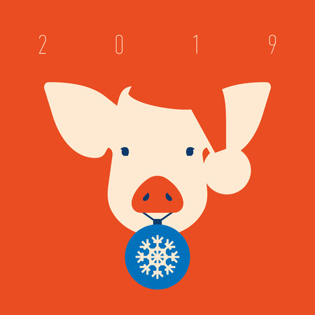 Pig icon. piggy a symbol of the 2019 Chinese New Year.