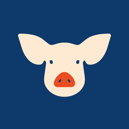 Pink pig in flat style, a symbol of the 2019 Chinese New Year Illustration