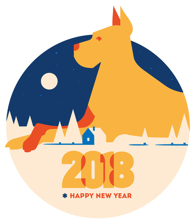 2018 Happy New Year of the dog greeting card.