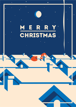 Merry christmas minimalistic vector illustration