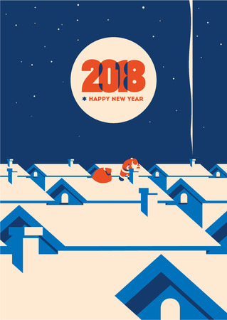 New year 2018 minimalistic vector illustration Stock Illustratie