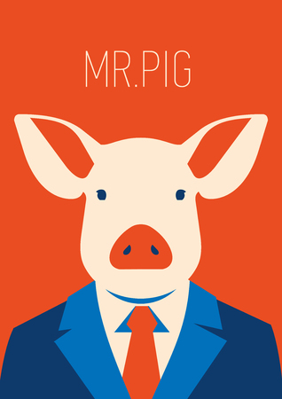 Vector portait of a pig in suit and tie. businessman character