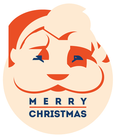 Santa claus with beard minimalistic vector illustration
